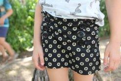 Girl wearing cat print skort made from The Zee Skort Sewing Pattern