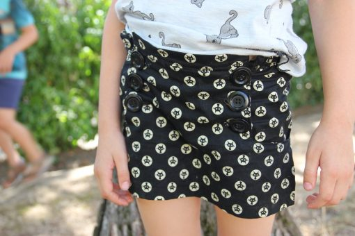 Girl wearing cat print skort made from The Zee Skort Sewing Pattern